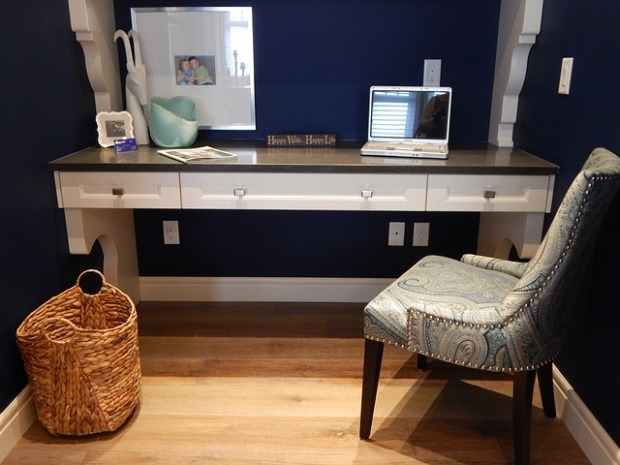 home office, blue walls, shaker style cabinets, small spaces, white decor, home remodel