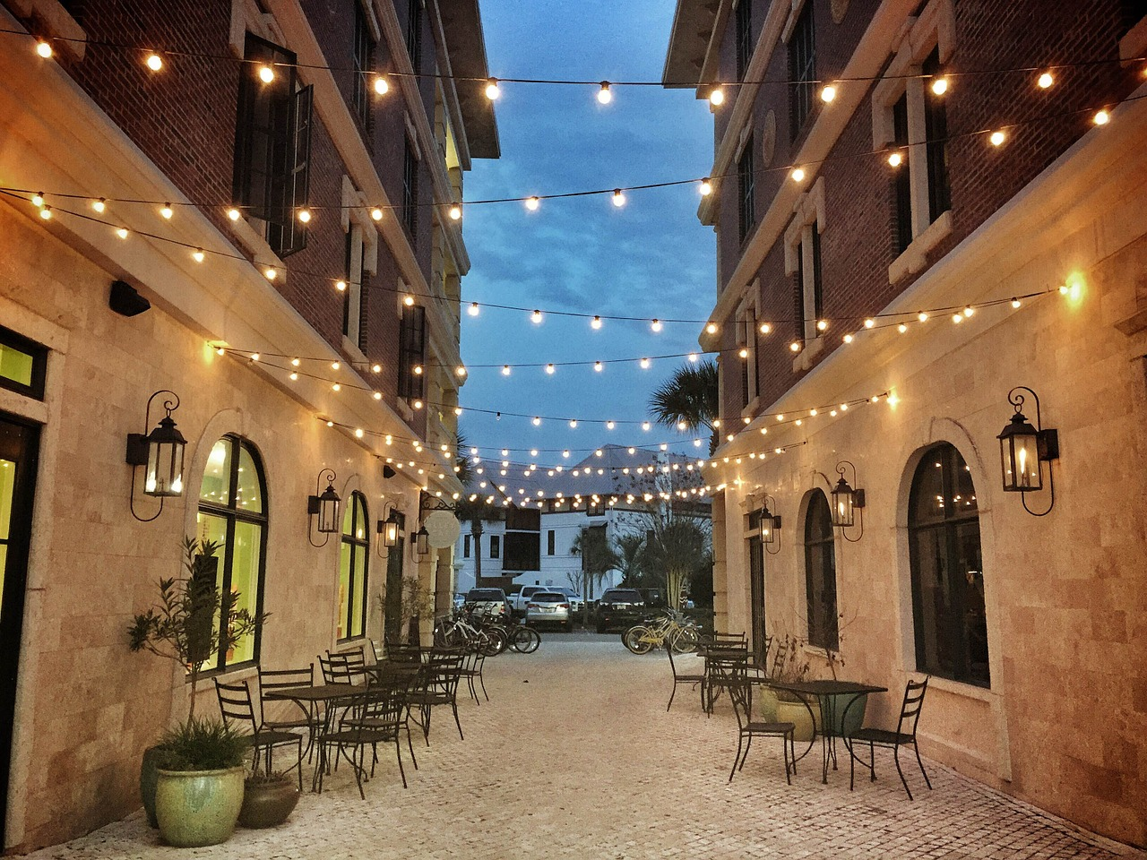 courtyard, white lights, cafe dining, al fresco dining, brick and limestone, restored property