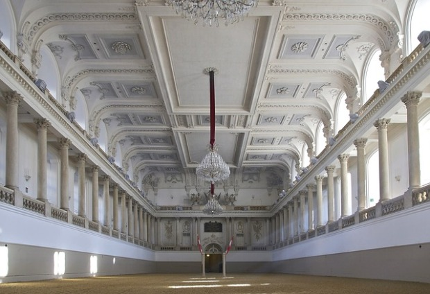 white color palette, tone on tone color schemes, restored ballroom