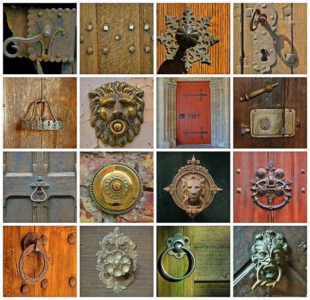 door knockers, antique brass, door hardware, hinges