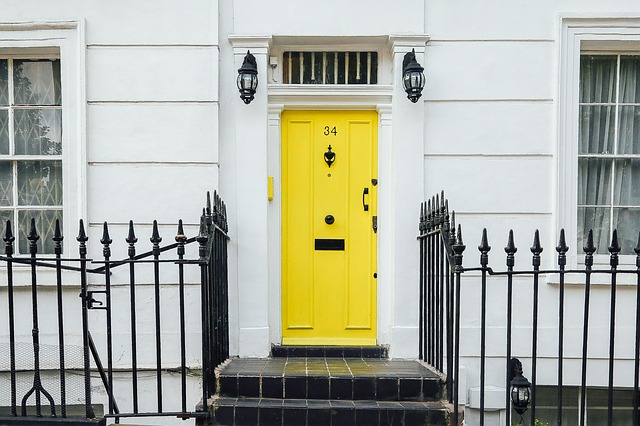 Yellow front door, curb appeal, historic homes