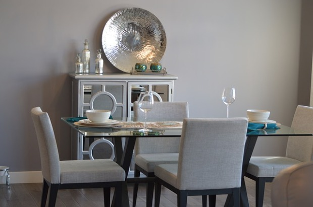 home staging, house stagings, turquoise decor, gray dining rooms, silver accessories