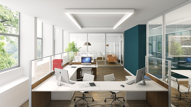 white office design, teal office, minimalist office decor, office interiors, interior designers in MA